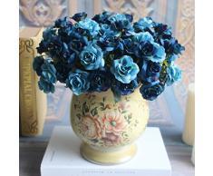 3 unid Peonías 45 rosas flores Artificiales flores de tela adorno ideal de color Azul para decoracion de jardin, cocina,fiestas, bodas... de OPEN BUY