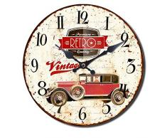 Reloj de pared Decoration Cocina Sala Country Retro Vintage Shabby Chic Flor Oldtimer Vespa Botella de Vino Taza de Café, modelo:mod 9