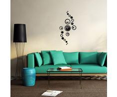 Malloom Relojes de pared reloj 3D DIY círculo patrón Stickers hora espejo moderno diseño arte (negro)