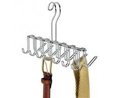 BlissHome InterDesign Classico Organizador de corbatas, colgador de metal cromado con 14 ganchos para organizar cinturones y corbatas, plateado