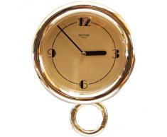 Reloj de pared RHYTHM con péndulo móvil. Bisel dorado, esfera champagne. Diámetro 18 cm Mod.4MP636-R18