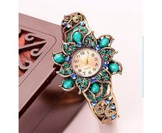 Royal Retro Rhinestone Aleación Resina Manual Flor Con Reloj Brazalete Pulsera,Azul