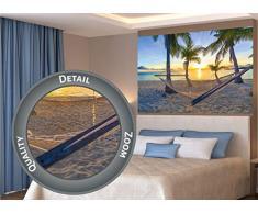 GREAT ART XXL Póster – Hamaca es Playa de Palmeras Antes del Atardecer – Mural Sol Caribe Vacaciones Verano Playa Mar Palma Arboles Cartel De La Foto Y Decoración 140 x 100 cm