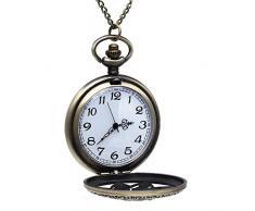 Gleader Reloj de Bolsillo Colgante Cadena Cuarzo Flores Vintage Regalo