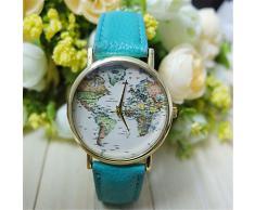 Reloj unisex estilo de mapa mundial / Vintage mapa del mundo / mapa del mundo antiguo / reloj de señoras / las mujeres de imitación de ( Color : Beige )