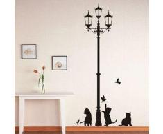 Vinilo decorativo pegatina pared, cristal, puerta (Varios colores a elegir)- gatos debajo de la farola