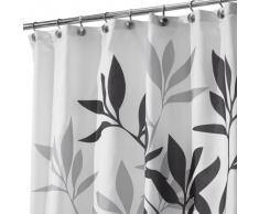 InterDesign Leaves Cortina de Ducha | Cortina de baño de diseño de tamaño estándar, 183,0 cm x 183,0 cm | Elegantes Cortinas Estampadas con Dibujo de Hojas | Poliéster Negro/Gris