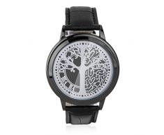 Llevo El Reloj De La Pantalla Tactil Correa De Cuero De La PU Binario Negro