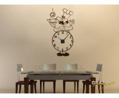 Vinilo de pared: Decoración de pared con reloj cocinero Para la cocina (reloj=Negro//Color=020 Dorado)