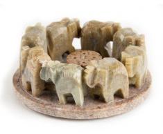 Berk Inner Worlds - Quemador de incienso (esteatita, tamaño pequeño), diseño de familia de elefantes