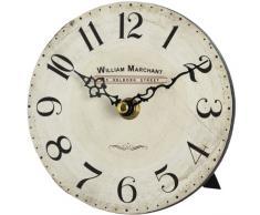 Pequeño William Marchant Hill Interiors estante reloj con soporte, blanco/negro/blanco antiguo/marrón rústico