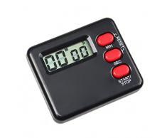 Sannysis Mini LCD Reloj Cocina Contador Temporizador Minutero (Negro)
