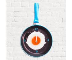 Reloj de Pared de Cristal Sartén con Huevo Frito