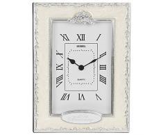 "Shudehill Giftware - Reloj de mesa con mecanismo de cuarzo, plata, diseño con texto ""25th Anniversary"", color beige"