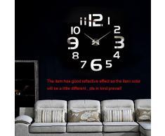 Anself DIY Reloj de pared creativo extraíble del efecto de espejo de acrílico para la decración de hogar de oficina
