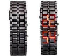 589| Reloj unisex Samurai LAVA Iron Japones Hombre/Mujer Digital LED ROJO