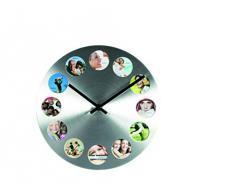 Out of the Blue 79/3081 - Reloj de pared con 12 marcos para fotos (aluminio)