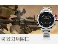 Shark SH103 - LED Reloj Hombre de Cuarzo, Correa de Acero Inoxidable Plateado