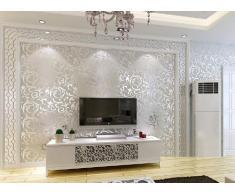 De alta-grade Hanmero Victorian Damask en relieve rollos de papel pintado para pared en color plateado y gris