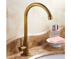 Nostalgie – Grifo de agua fría Retro 360 ° giratorio grifo lavabo grifo mezclador baño grifo F. cuarto de baño lavabo, gran caño, Antiguo Cobre cepillado con conector mangueras