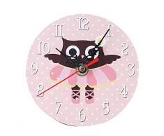 SKY ♥♥Estilo de la aldea no-tictac silenciado antiguo reloj de pared de madera para la oficina de cocina casera Redondo de madera de imitación reloj de pared del búho relojes pequeño dormitorio (B)