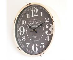 Perla PD Diseño Metal Reloj de pared con cristal vintage diseño Cafe de lagare Altweiß lacado aprox. Ø 30 cm