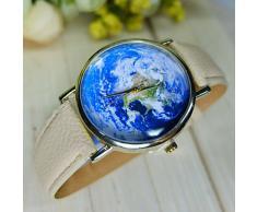 Reloj unisex estilo de mapa mundial / vendimia mapa del mundo / mapa del mundo antiguo / reloj de señoras / las mujeres de imitación de ( Color : Azul )
