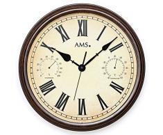 AMS 9484 Reloj de pared jardín exterior acabado antiguo resistente a la intemperie.