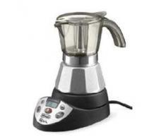 DeLonghi EMKP 21.B Cafetera moka eléctrica, 450 W, cronómetro, 2 tazas, acero inoxidable, negro y plateado
