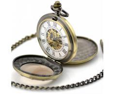 Infinite U Alta calidad Rueda Lupa Hueco Esqueleto Acero Doble tapas Reloj de bolsillo Mecánico