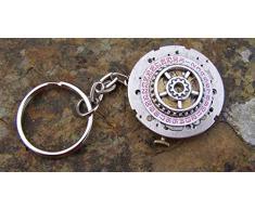 Steampunk del reloj llavero, cadena artes hechos a mano y arte, plata (6 ninguìn)