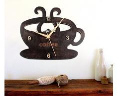 Creative Light- Retro rural de color oxidado de madera roto Copa de café negro Reloj de pared de la bebida Tipo de Copa Reloj