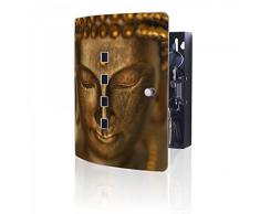 banjado - acero inoxidable Armario para llaves de Burg-Wächter con diseño de Buda dorado