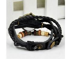Hosaire Accesorios de moda Envoltura de armadura retro alrededor de la pulsera de cuero con muñeca de La llave Reloj de pulsera Mujer Cuarzo Naturaleza Stlye reloj (Negro)