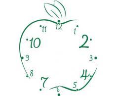 Vinilo de pared: Decoración de pared con reloj manzana Para la cocina (reloj=Plata cepillada//Color=061 Verde)
