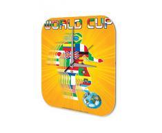 Reloj De Pared Deportes Marke Banderas del mundial de f?tbol Plexiglas Imprimido 25x25 cm