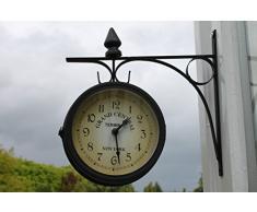 Garden Market Place - Reloj de jardín de Doble Cara con Pilas gratuitas para Uso en Interiores o Exteriores