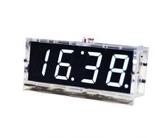 KKmoon Compacto de 4 Dígitos Kit del Reloj Digital LED DIY Control de Luz Monitor de Temperatura Fecha Hora con Caso Transparente