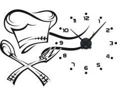Graz Design - Reloj de pared con adhesivo decorativo (diseño con números y gorro de cocinero)