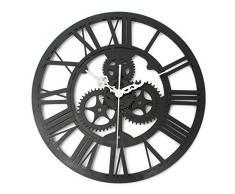 Bluelover Reloj de pared Vintage arte rústico engranaje grande barra de hogar hechos a mano madera Cafe decoración regalo 32cm-negro