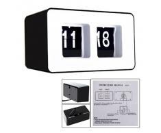 SODIAL(R) Reloj de Escritorio Pared Clasico Auto Flip Moderno