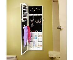 Songmics Armario Joyero con espejo para joyas, joyero de madera de pie, color Blanco JBC84W