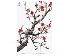 Feeby Frames Biombo Impreso sobre Lona a una Cara UN Color Negro Y Blanco 110x150 cm Mujer Labios de 3 Piezas Rojo tabique Decorativo para Habitaciones