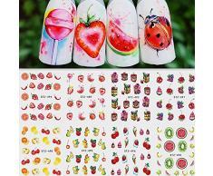 AIUIN Pegatina de Uñas Patrón de Merienda de Fruta Guías de Clavar Tip Pegatinas Conjunto con Uñas de Manicura