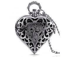 Infinite U Corazón Hueco Colgante Reloj de bolsillo de Cuarzo para Mujer Collar con Cadena Larga Plateado