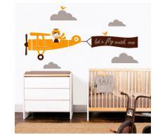 MYVINILO - Vinilo decorativo infantil - Lets fly / naranja claro / marrón / ...