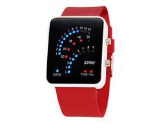 ufengke® exquisita binario impermeable llevó reloj de pulsera electrónico,rectángulo de línea de silicona reloj de pulsera muñeca banda,rojo