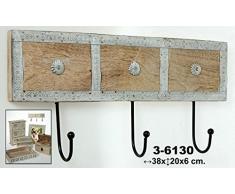 DonRegaloWeb - Perchero de pared de 3 ganchos de madera y metal. Medidas: 38cm x 20cm x 6cm