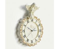 Creative Light- 16 pulgadas (27,5 cm) de resina Europea salón creativo de la manera de la personalidad de la moda ángel Relojes arte pastorales cocina Mute reloj de pared de Marfil