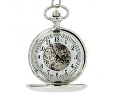 Reloj de Bolsillo BOXX Mecánico y en Color Plateado con Cadena de 12